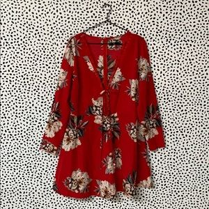 Missguided Red Floral Plus Size Dress